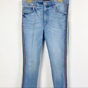 Express Jeans - Express • High Waisted Rainbow Side Stripe Jeans